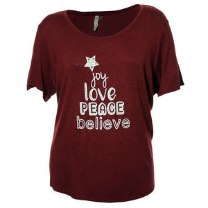 3x Burgundy Short Sleeve Holiday Graphic Tee Shirt